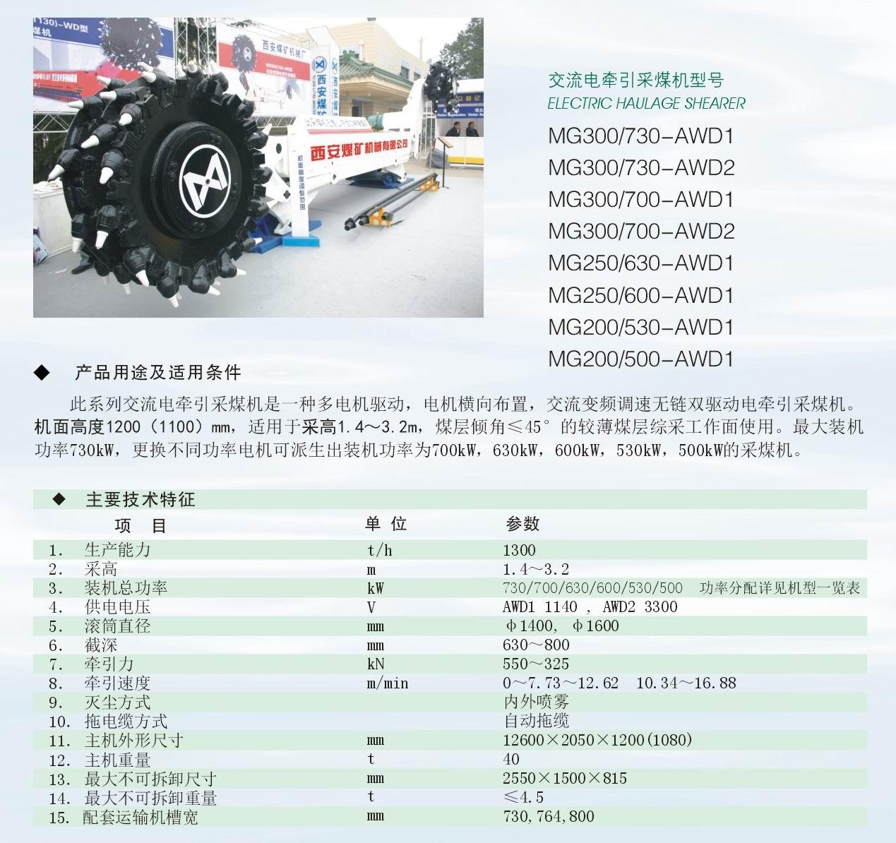 mg300/730-awd型系列交流电牵引采煤机